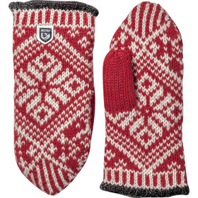 Hestra Nordic Wool Manoplas, rojo/blanco